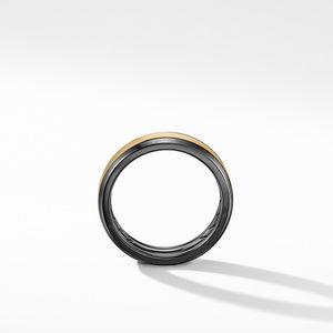 Beveled Band Ring in Black Titanium with 18K Yellow Gold alternative image