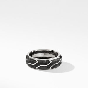 Forged Carbon Band Ring in 18K White Gold