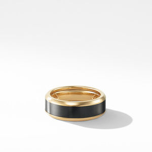Beveled Band Ring in 18K Yellow Gold with Black Titanium