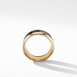 Beveled Band Ring in 18K Yellow Gold with Black Titanium alternative image