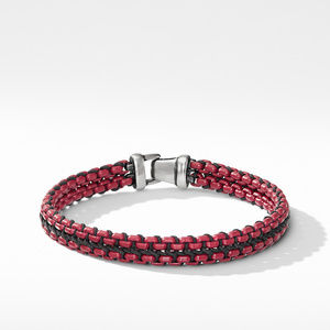 Woven Box Chain Bracelet in Burgundy