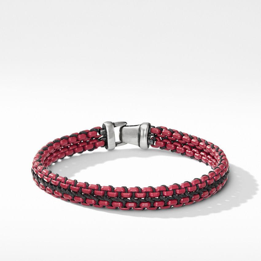 Woven Box Chain Bracelet in Burgundy