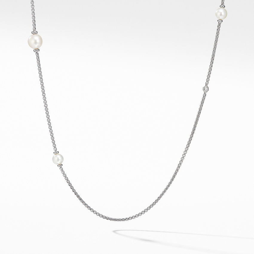 Pearl Cluster Chain Necklace with Diamonds