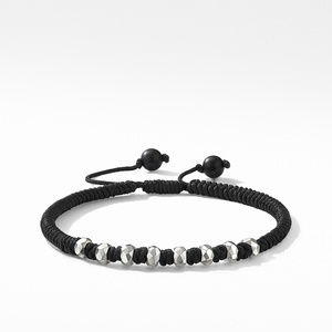 Woven Bracelet in Black Nylon with Black Onyx