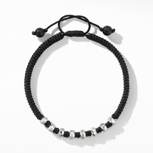Woven Bracelet in Black Nylon with Black Onyx alternative image