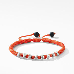 DY Fortune Woven Bracelet in Orange with Black Onyx