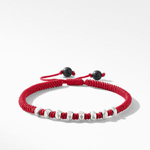 DY Fortune Woven Bracelet in Red with Black Onyx