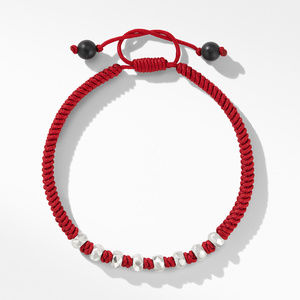 Woven Bracelet in Red Nylon with Black Onyx alternative image