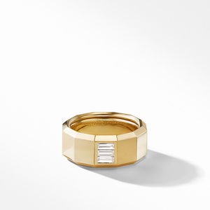 Faceted Band Ring in 18K Yellow Gold with Diamond Baguettes