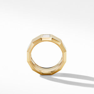 Faceted Band Ring in 18K Yellow Gold with Diamond Baguettes alternative image