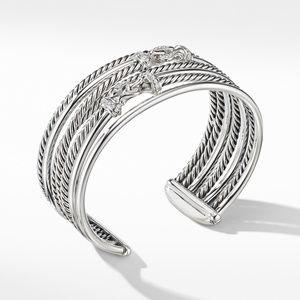 Buckle Crossover Cuff Bracelet with Diamonds