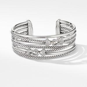 Buckle Crossover Cuff Bracelet with Diamonds alternative image