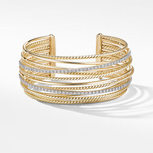 Crossover Cuff Bracelet in 18K Yellow Gold with Diamonds alternative image