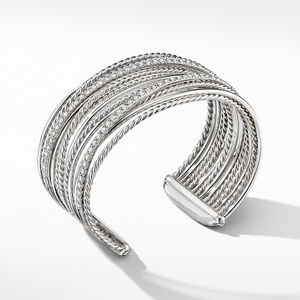 Crossover Cuff Bracelet with Diamonds