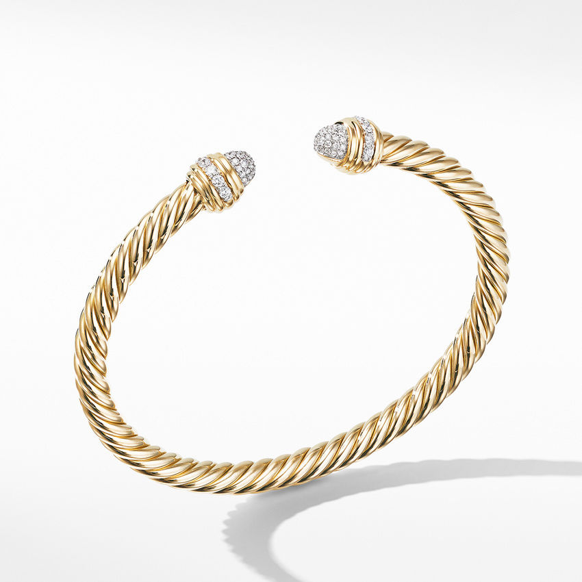 Cable Bracelet in 18K Yellow with Diamonds