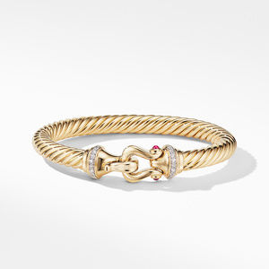 Buckle Bracelet in 18K Yellow Gold with Diamonds and Rubies alternative image