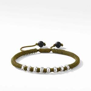 DY Fortune Woven Bracelet in Army Green with Black Onyx