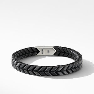 Chevron Woven Bracelet in Black Titanium