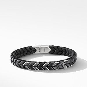 Chevron Narrow Woven Bracelet in Black Titanium with Black Diamonds