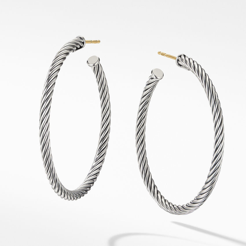 Medium Cable Hoop Earrings