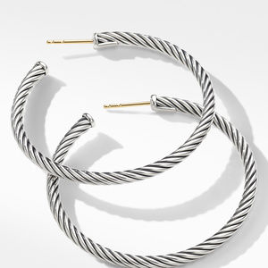 Medium Cable Hoop Earrings alternative image
