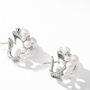 Large Pearl Cluster Hoop Earrings with Diamonds alternative image