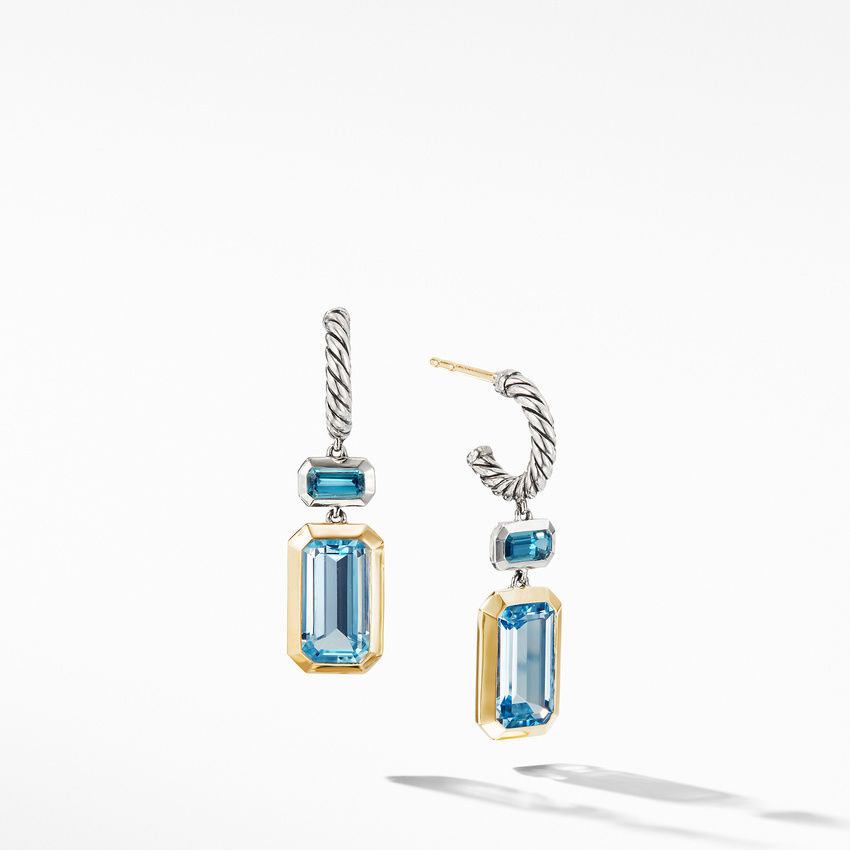 Novella Drop Earrings with Blue Topaz and 18K Yellow Gold