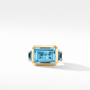 Novella Three Stone Ring with Blue Topaz and 18K Yellow Gold alternative image