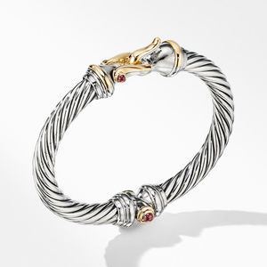 Cable Buckle Bracelet with 18K Yellow Gold and Rhodalite Garnet