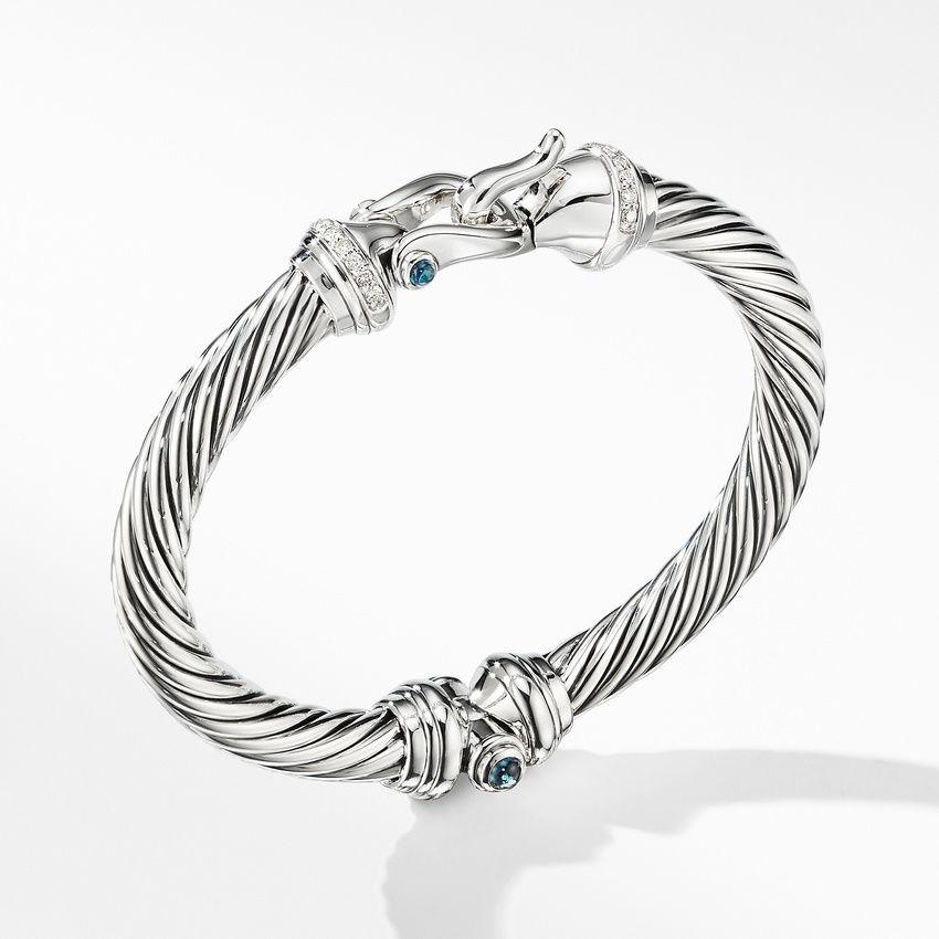 Cable Buckle Bracelet with Hampton Blue Topaz and Diamonds