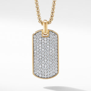 Streamline® Tag in 18K Yellow Gold with Diamonds