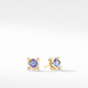 Novella Stud Earrings in 18K Yellow Gold with Tanzanite and Diamonds
