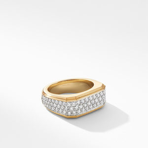 Roman Signet Ring in 18K Yellow Gold with Diamonds