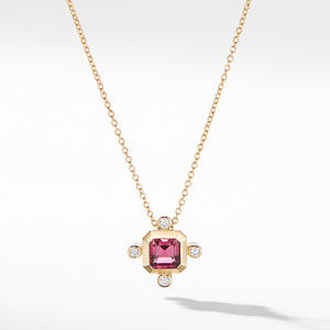 Novella Pendant Necklace in 18K Yellow Gold Pink Tourmaline with Diamonds