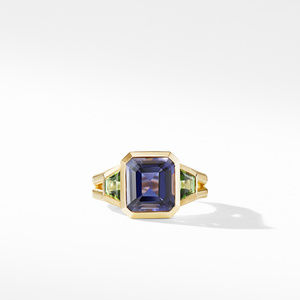 Novella Three Stone Ring in 18K Yellow Gold with Iolite and Green Tourmaline alternative image