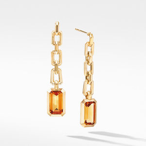 Novella Chain Drop Earrings in 18K Yellow Gold with Madeira Citrine