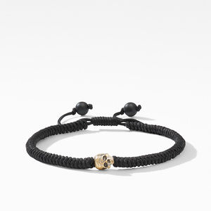Woven Skull Bead Bracelet with 18K Yellow Gold in Black Nylon