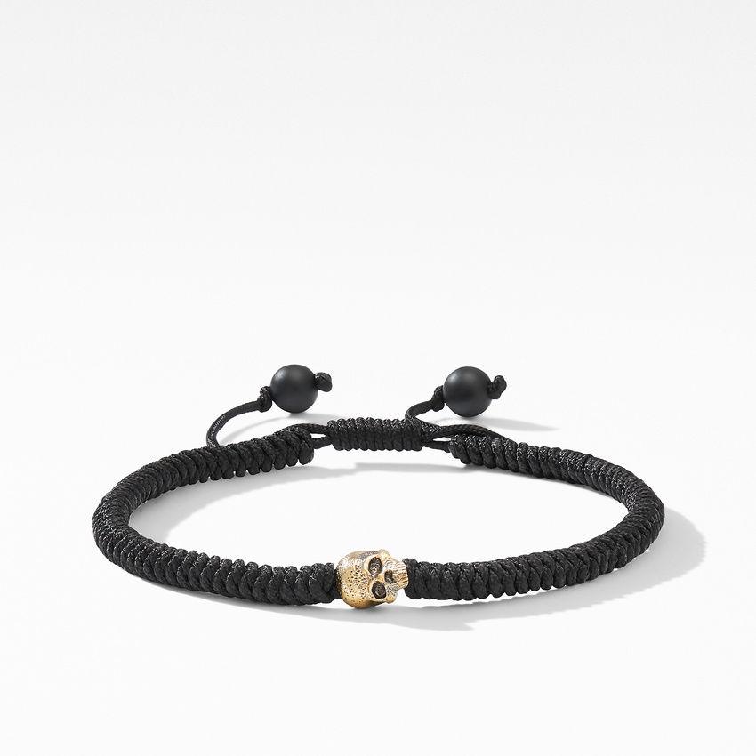 Woven Skull Bead Bracelet with 18K Yellow Gold in Black Nylon