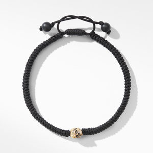 Woven Skull Bead Bracelet with 18K Yellow Gold in Black Nylon alternative image
