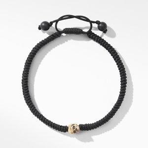 Woven Skull Bead Bracelet with 18K Yellow Gold in Black Nylon alternative image