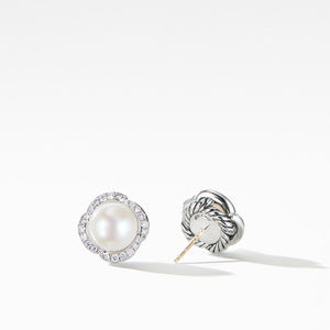 Continuance® Pearl Button Earrings with Diamonds alternative image