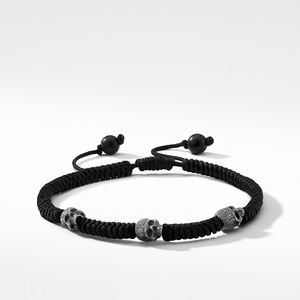 Woven Skull Bead Bracelet in Black Nylon