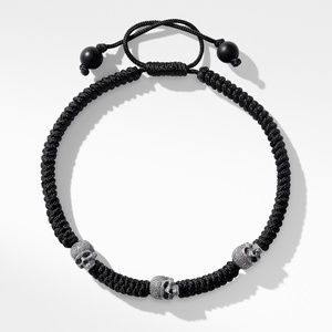 Woven Skull Bead Bracelet in Black Nylon alternative image