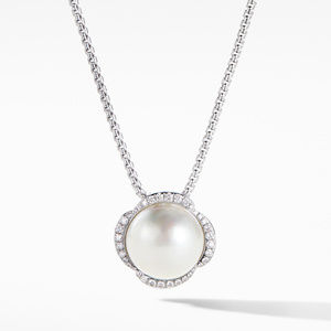 Continuance Pearl Pendant Necklace with Diamonds