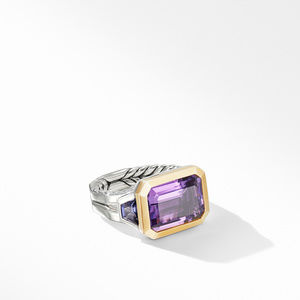 Novella Three Stone Ring with Amethyst and 18K Yellow Gold