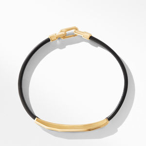 Faceted ID Black Leather Bracelet with Meteorite and 18K Yellow Gold alternative image