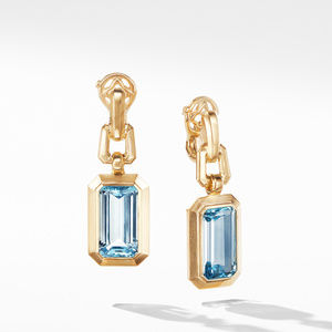 Novella Drop Earrings in 18K Yellow Gold with Blue Topaz