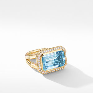 Novella Statement Ring in 18K Yellow Gold with Blue Topaz and Diamonds