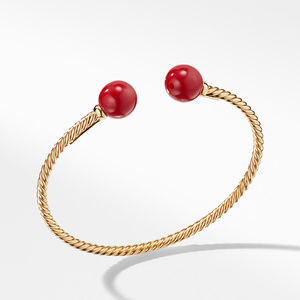 Solari Bead Bracelet with 18K Gold and Red Enamel