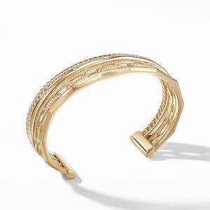 Stax Medium Cuff Bracelet with Diamonds in 18K Gold